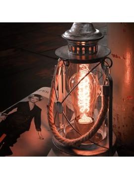 Lampada vintage 1 luce nero con vetro GLO 49283 Bradford