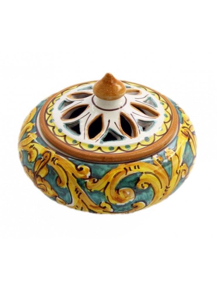Porta caramelle piccolo in ceramica siciliana art.2 dec. Gianluca