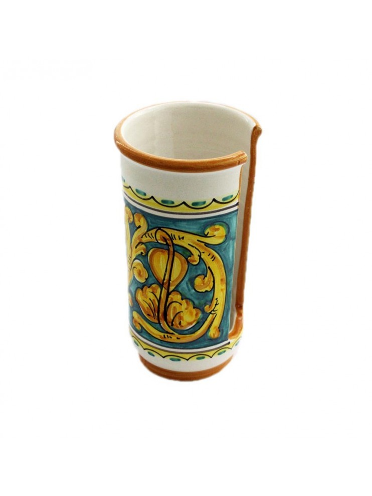 Large Sicilian ceramic cup holder art.17 dec. Gianluca