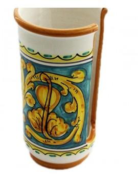 Portabicchieri grande in ceramica siciliana art.17 dec. Gianluca