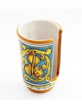 Portabicchieri piccolo in ceramica siciliana art.18 dec. Gianluca