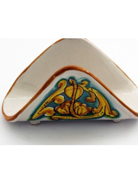 Handkerchief napkin holder in Sicilian ceramic art.10 dec. Gianluca
