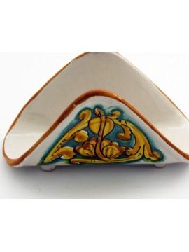 Portatovaglioli a fazzoletto in ceramica siciliana art.10 dec. Gianluca