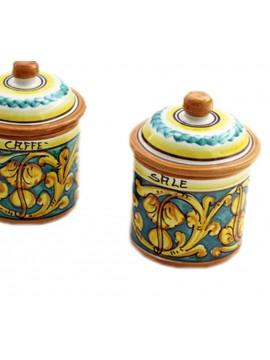 Tris 3 barattoli zucchero caffè sale in ceramica siciliana art.8 dec. Gianluca