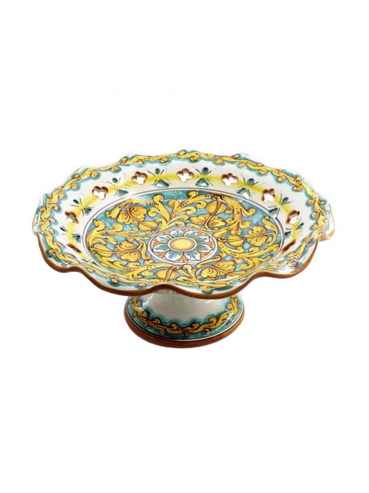 Centrotavola alzata grande in ceramica siciliana art.3 dec.Gianluca