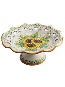 Centrotavola alzata grande in ceramica siciliana art.3 dec.Girasole