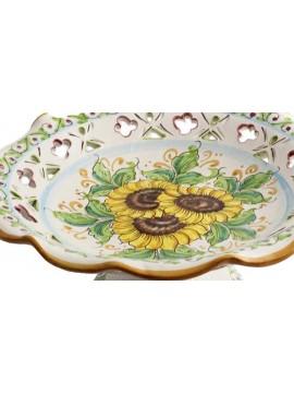 Large centerpiece in Sicilian ceramic art.3 dec.Girasole