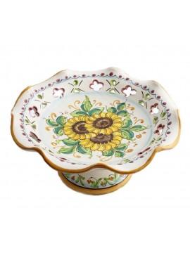 Medium raised centerpiece in Sicilian ceramic art.4 dec. Girasole