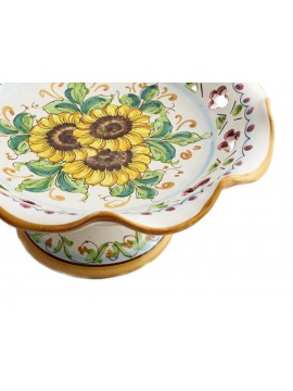 Medium raised centerpiece in Sicilian ceramic art.4 dec. Girasole