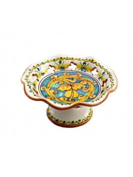 Centrotavola alzata piccola in ceramica siciliana art.5 dec. Gianluca
