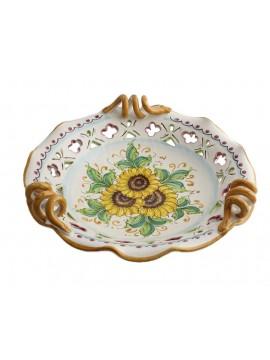 Large Sicilian ceramic centerpiece art.6 dec. Sunflower