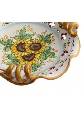 Centrotavola piccolo in ceramica siciliana art.7 dec. Girasole