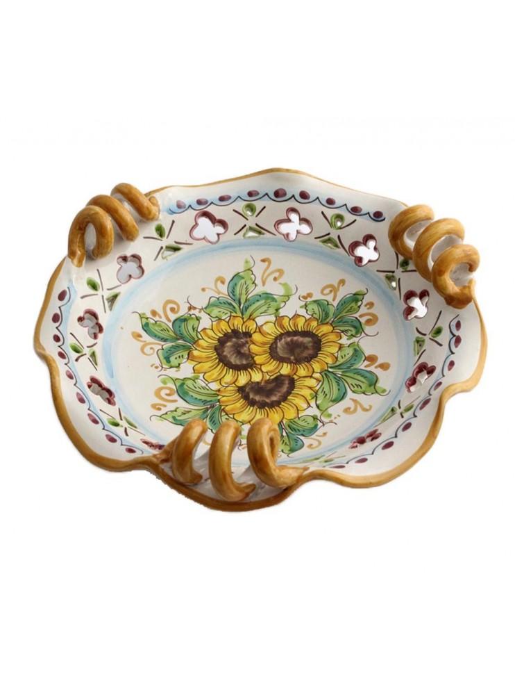 Small Sicilian ceramic centerpiece art.7 dec. Sunflower