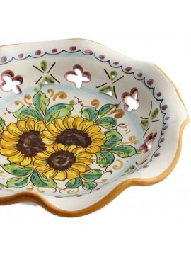 Large Sicilian ceramic bowl art.22 dec. Sunflower