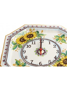 Orologio in ceramica siciliana art.24 dec. Girasole