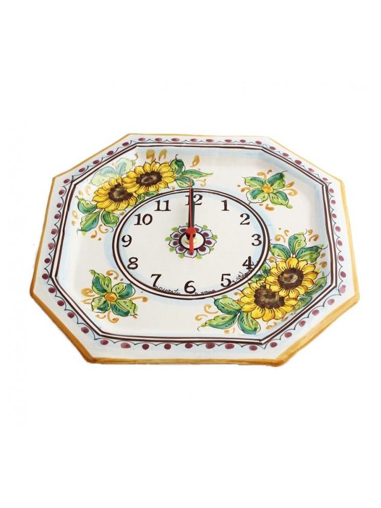 Sicilian ceramic clock art.24 dec. Sunflower