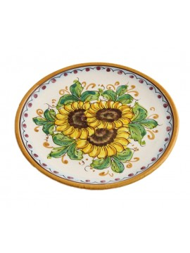 Piatto in ceramica siciliana art.14 dec. Girasole