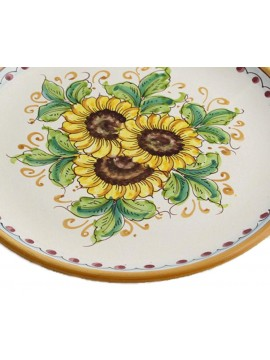 Piatto in ceramica siciliana art.12 dec. Girasole