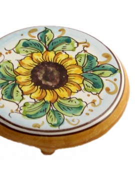 Sicilian ceramic coffee pot holder art.20 dec. Sunflower