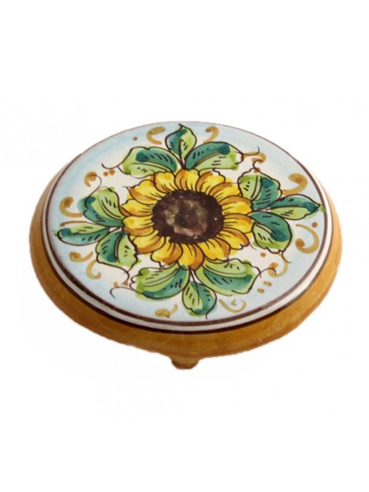Sicilian ceramic coffee pot holder art.20 dec. Sunflower