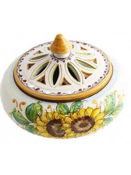 Large candy holder in Sicilian ceramic art.1 dec. Sunflower