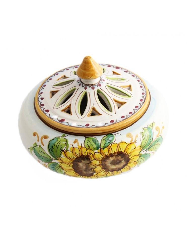 Porta caramelle grande in ceramica siciliana art.1 dec. Girasole