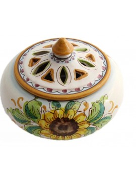 Small candy holder in Sicilian ceramic art.2 dec. Sunflower