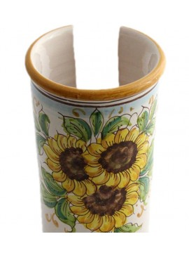 Large Sicilian ceramic cup holder art.17 dec. Sunflower