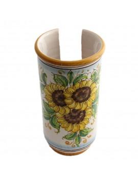 Portabicchieri grande in ceramica siciliana art.17 dec. Girasole