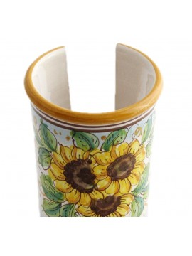 Small Sicilian ceramic cup holder art.18 dec. Sunflower