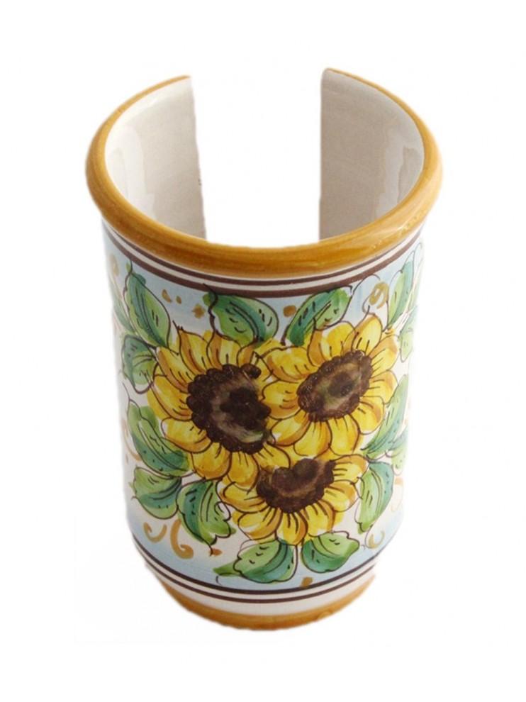 Small Sicilian ceramic cup holder art.18 dec. Sunflower