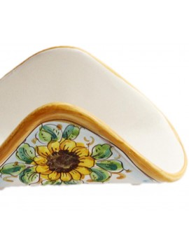 Handkerchief napkin holder in Sicilian ceramic art.10 dec. Sunflower