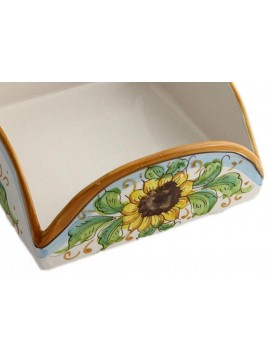 Sicilian ceramic napkin holder art.9 dec. Sunflower