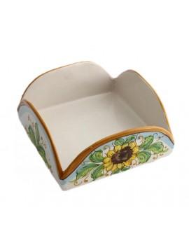 Portatovaglioli in ceramica siciliana art.9 dec. Girasole
