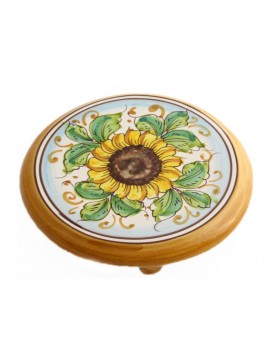 Sicilian ceramic trivet art.19 dec. Sunflower