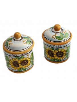 Tris 3 jars sugar coffee salt in Sicilian ceramic art.8 dec. Sunflower