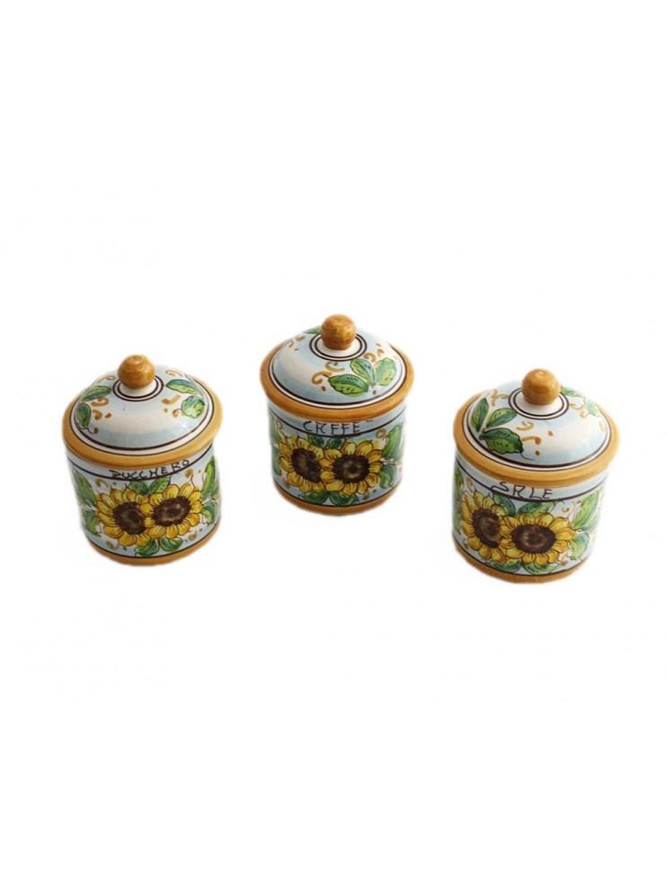 Tris 3 jars sugar coffee salt in Sicilian ceramic art.8 dec. Sunflower