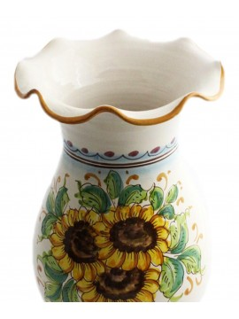 Vase worked in Sicilian ceramic art.16 dec. Sunflower