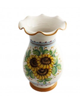 Vaso lavorato in ceramica siciliana art.16 dec. Girasole