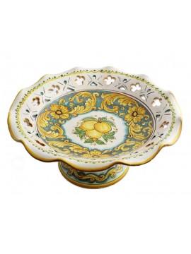 Centrotavola alzata grande in ceramica siciliana art.3 dec.Limoni