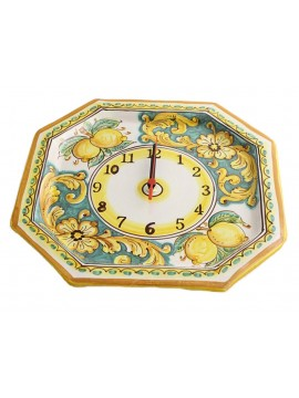 Orologio in ceramica siciliana art.24 dec. Limoni
