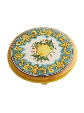 Porta caffettiera in ceramica siciliana art.20 dec. Limoni