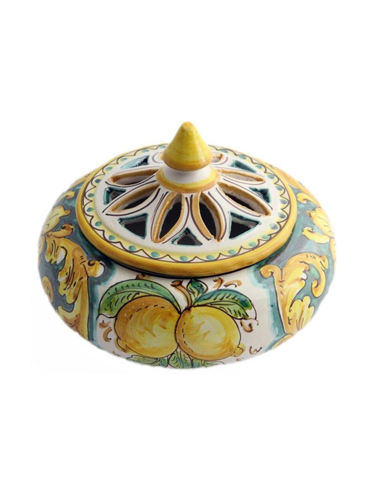 Porta caramelle grande in ceramica siciliana art.1 dec. Limoni