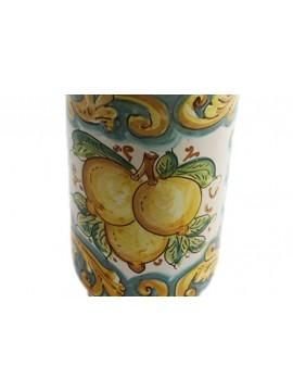 Portabicchieri grande in ceramica siciliana art.17 dec. Limoni