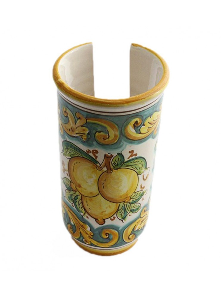 Large Sicilian ceramic cup holder art.17 dec. lemons