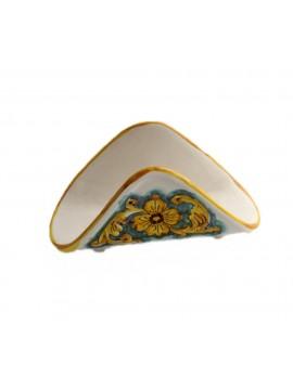 Portatovaglioli a fazzoletto in ceramica siciliana art.10 dec. Limoni