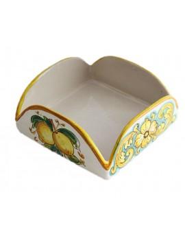 Portatovaglioli in ceramica siciliana art.9 dec. Limoni
