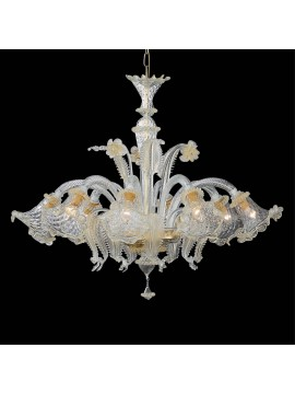 Classic Murano glass chandelier 8 lights Rialto amber