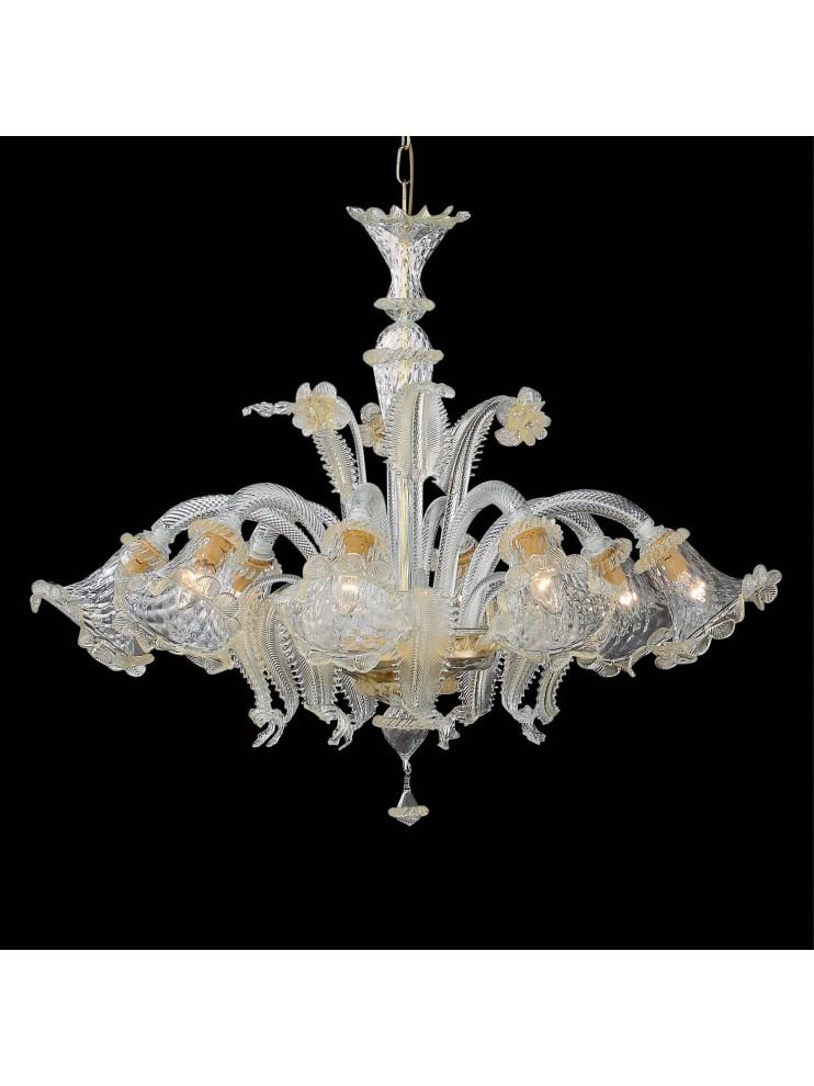 Lampadario classico in vetro murano 8 luci Rialto ambra