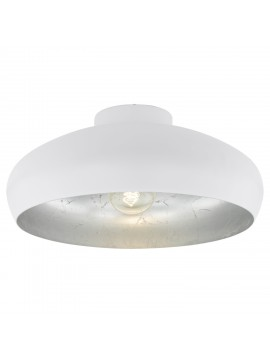 Vintage ceiling light 1 light white and silver GLO 94548 Mahogany